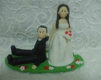 Personalized bride dragging groom  wedding cake topper