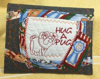 I pad case, embroidered Pug design