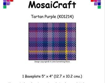 MosaiCraft Pixel Craft Mosaic Art Kit 'Tartan Purple' (Like Mini Mosaic and Paint by Numbers)