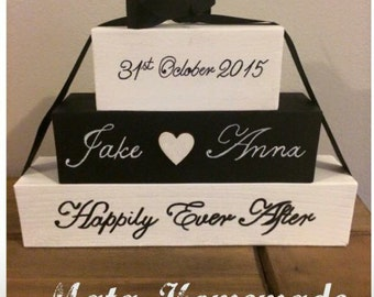 Personalised wooden blocks set, ideal wedding gift, any colour