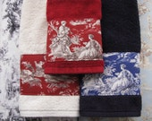 Toile D'Jouy Towels,  hand towels, bath towels, custom towels, french country, bathroom, custom towels, bath decor, towels, toile, red, navy