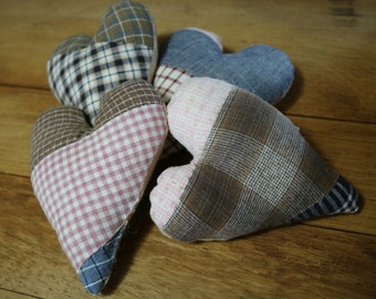 Quilted Stuffed Primitive Hearts