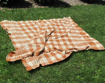 Plaid vintage all wool sleigh blanket; carriage or buggy blanket; Victorian