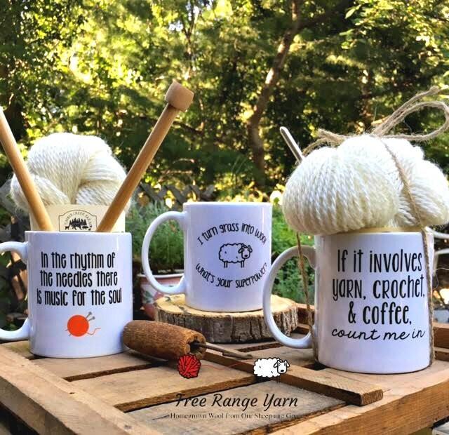 Knitting Gift Set : Yarn and mug gift set knitting needles or crochet