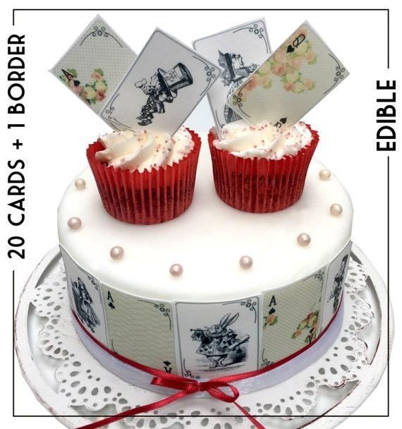 Edible Cake Decorations Alice In Wonderland : Gold Alice in wonderland Edible Wafer Card or Icing Sheet