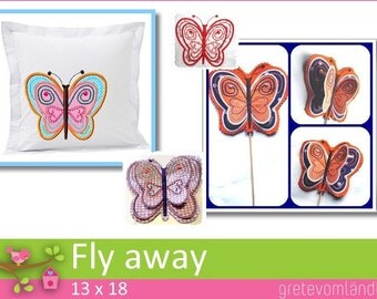 Embroidery file 13 x 18 fly away Butterfly