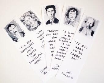 Authors bookmark set Thomas Mann Virginia Woolf Tolstoi Kafka Carson McCullers bookmarks art literature bookmarks Black & White pics