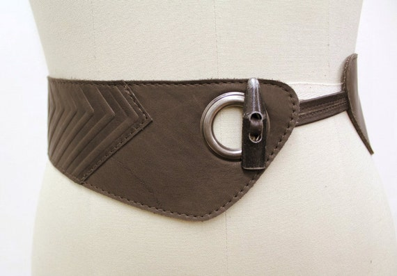 SALE - NOUVEAU WESTERN - tall leather belt for waist, for women - brown