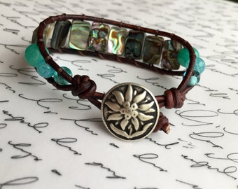 "6"" leather bracelet with abalone and agate."