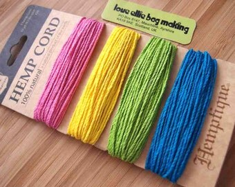 Hemp Cord Card - Razzle Dazzle Collection - Pink Yellow Green Blue - 20lb / 1mm cord Hemptique Four Pack Premium Quality Hemp Cord