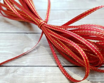 1/8 INCH RED Gold-Edged Satin Twine Ribbon