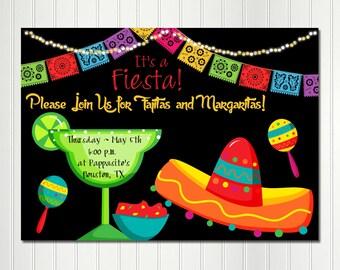 Margarita Invitation,  Fiesta Invitation,  Mexican Invitation, Cinco de Mayo, Margarita, Birthday, Fiesta, Invitation