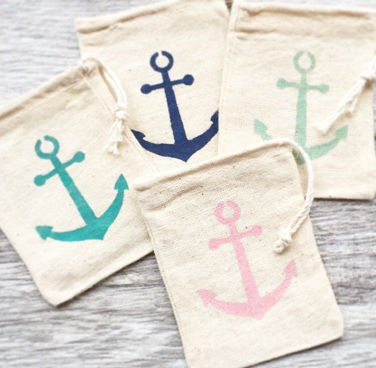Anchor wedding favor bags beach wedding favors destination for Destination wedding gift bags