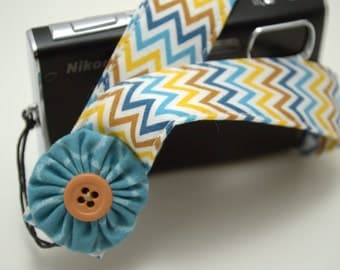 Riley Blake Indie Chevron with Teal Flower - Padded Camera Wrist Strap