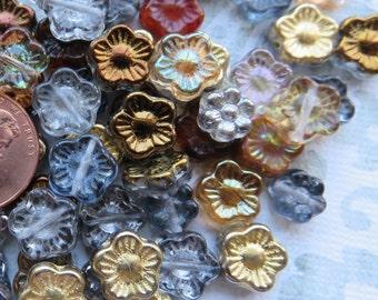Gold and Topaz Czech Glass Flower Mix, 24 Beads - Item 3295