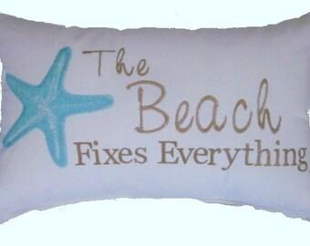 Embroidered Beach Pillow, Coastal Pillow, Nautical Pillow, Oblong Pillow,Cottage Pillow, Nautical Cushion, Coastal Cushion