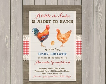 About to Hatch Baby Shower Invitation, Rooster Hen Egg Rustic Ready to Hatch Baby Shower Invite, Gender Neutral Shower, Printable or Printed