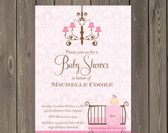 Chandelier Baby Shower Invitation, Pink Damask Baby Shower Invitation, Crib Baby Shower Invite, Printable or Printed