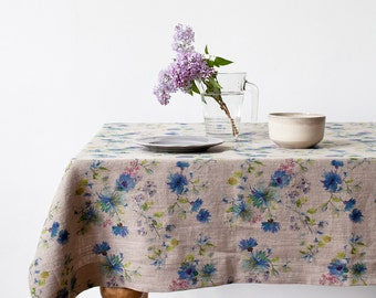 Natural Summer Flowers Linen Tablecloth