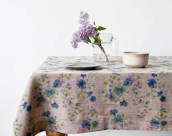 Natural Summer Flowers Linen Tablecloth