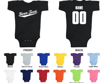 Personalized custom your text name and number infant baby one piece romper, Baseball Script