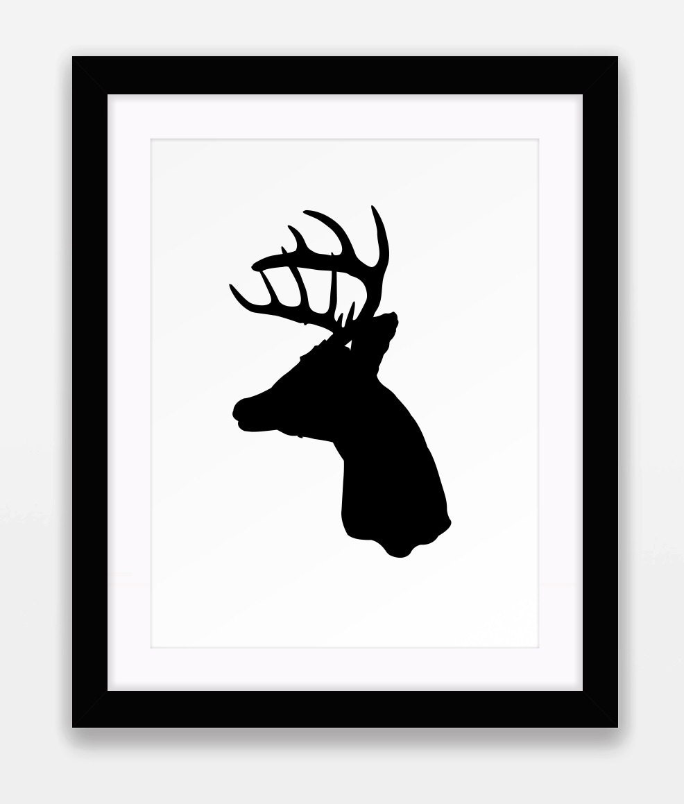 This is a graphic of Slobbery Printable Deer Head Silhouette