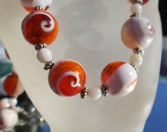 Shell necklace, Necklace, Orange Necklace. Necklace set