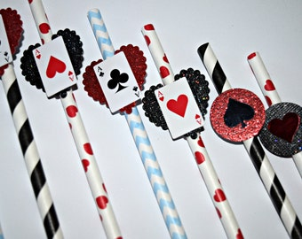 Alice in Wonderland Party Straws Favor, Alice In Wonderland Birthday, Party Favors, Mad Hatter Birthday Favor, Alice Paper Straws, Cups