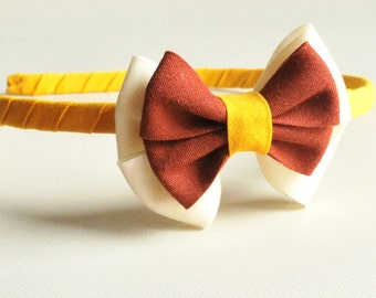 Bow headband/mustard and brown/ hair accessories/ baby girls/ handmade/ girls hairband/ bow hair