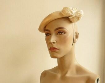 vintage Philip Somerville hat straw hat floral hat Philip Somerville Milliner To The Queen vintage caplet hat