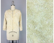 60s Ivory Sequin Encrusted Cardigan / Beaded 1960s Vintage Sweater / Large / Size 10