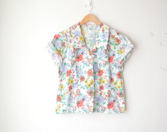 floral oversized boxy button down blouse 80s // L