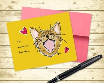 Love Cat Lovers Greeting Card (5.5x4.25 size)