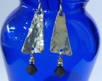 triangle hammered Handmade Sterling Silver 925 hammered drop earrings with a matte black accent bead