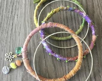 Boho Bracelet Stack - Lavender and Green