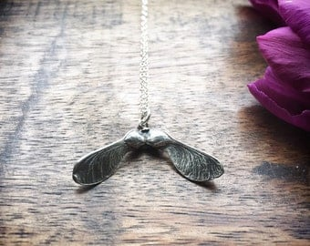 Sterling silver sycamore necklace - gift for her