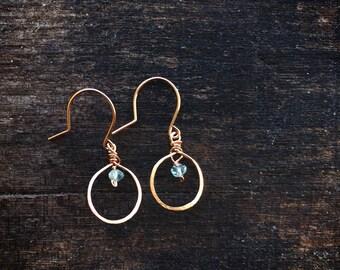 Rose gold earrings - aquamarine earrings, rose gold hoop earrings, march birthstone