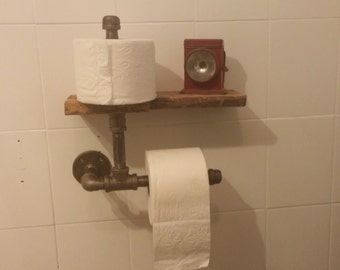 Steampunk Toilet Paper Holder with Re-Purposed Barn Wood Shelf
