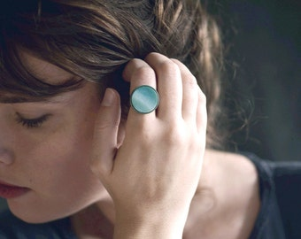 Seafoam . Light green cabochon ring / adjustable / boho ring / gifts for her