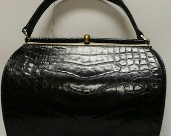 Vintage Lesco Black Alligator Clutch Purse