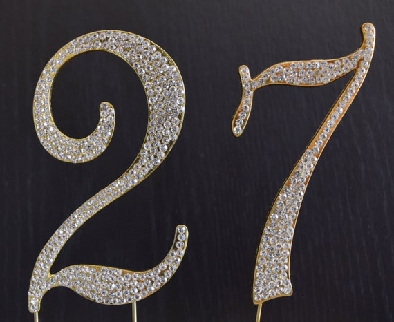 Rhinestone Gold Number 27 Cake Topper 27th Birthday Party