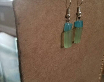 Aqua & Seafoam Glass Silver Wire Drop Earrings