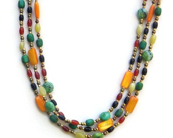 Bright Colorful Extra Long Hippie Necklace, Multicolored Green Yellow Gold Multi Strand Wrap Necklace, Bohemian Jewelry, OOAK Unique
