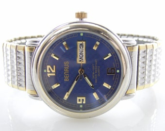 Vintage Mens Two Tone Benrus BN718 Blue Simulated Holographic Dial Watch