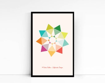 BAHA'I PRINT of NINE Pointed star / Geometric Design Print / Baha'i Symbol Print / Nursery Print / Home Decor / Retro Style Print /