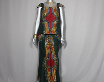 Vibrant Colors African Print 2 pc Ladies Outfit Weddings,Church, Concerts