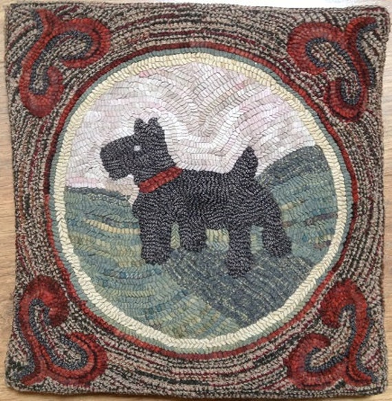 "Rug Hooking Pattern, A Scottie Named Watson, 18"" x 18""  P106"