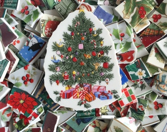 Two Pounds CHRISTMAS Assortment Mix Tiles for Mosaic -  Broken China -  Plus Focal