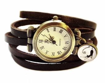 "Wrap Watch, Bracelet Watch, Wrist Watch, Vintage Watch Real Leather ""Cat"" Leather Bracelet: dark brown"