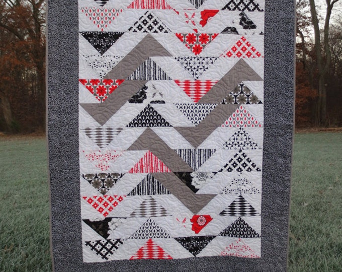 Modern Flying Geese Quilt/Throw - Black, White, Red and Gray - Handmade - Designer Fabric Collection - Ready to Ship